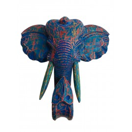 Cap elefant decor, din lemn, 48 cm