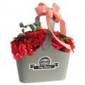 Cos flori din sapun, rosu, 30 cm