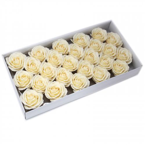 Trandafiri mari crem din sapun, 25 buc.