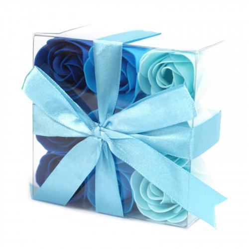 Set cadou 9 trandafiri din sapun-Blue Wedding, 10 cm
